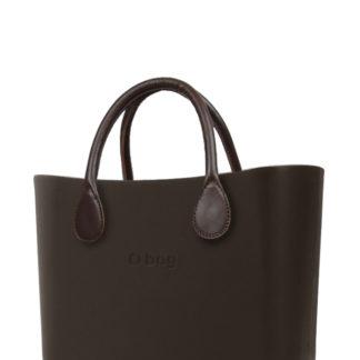 O bag kabelka MINI Testa di Moro s hnědými krátkými koženkovými držadly
