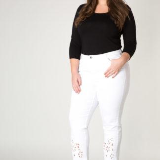 Yesta bílé kalhoty Jo-enna s průstřihy květin
