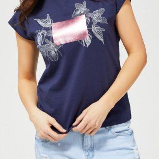 Moodo modré tričko s bílo-růžovým motivem