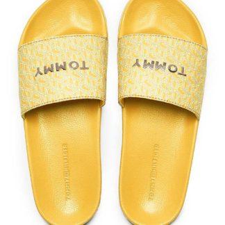 Tommy Hilfiger žluté pantofle TH Mono Allover Pool Slide