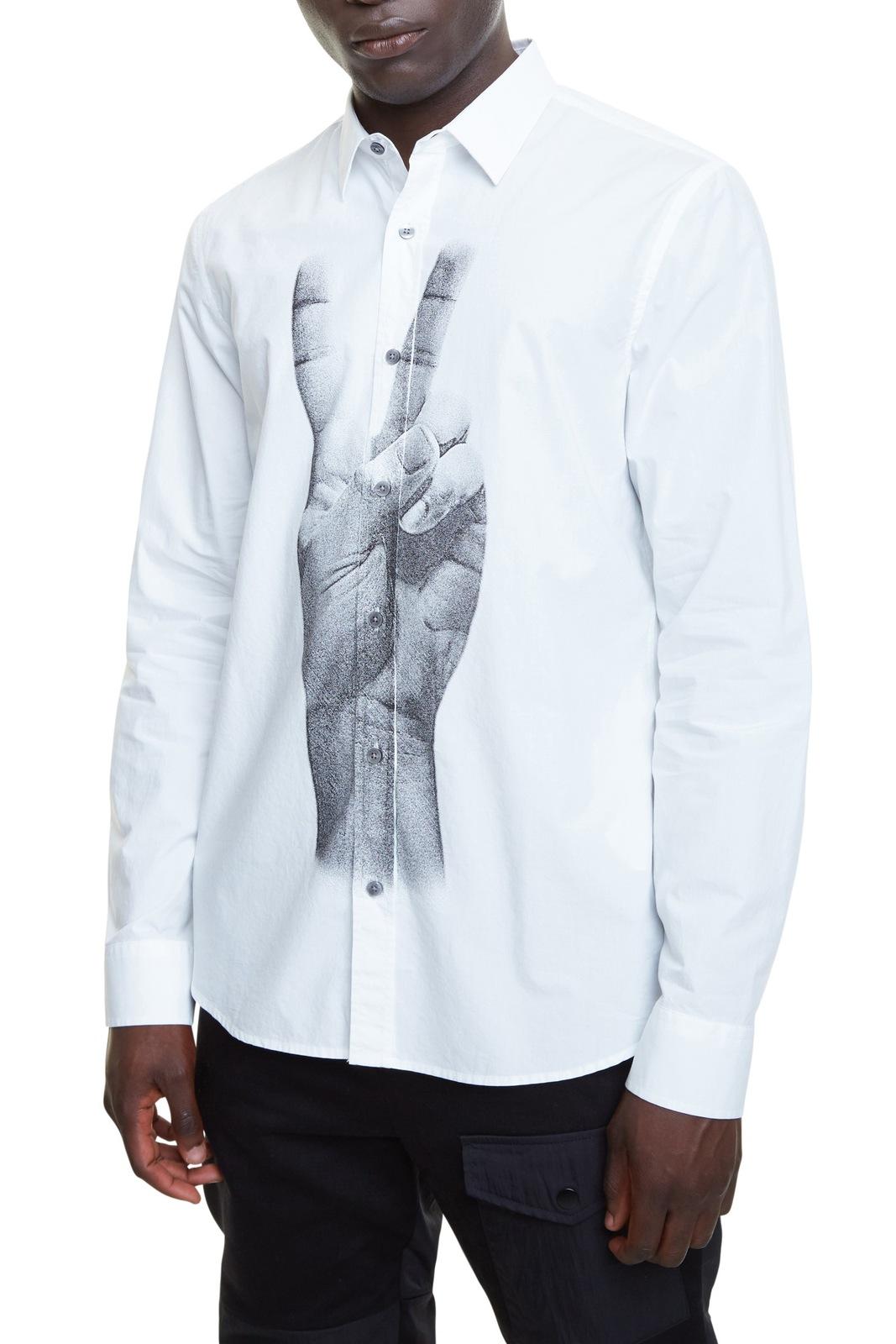 Desigual bílá pánská košile Cam Gad