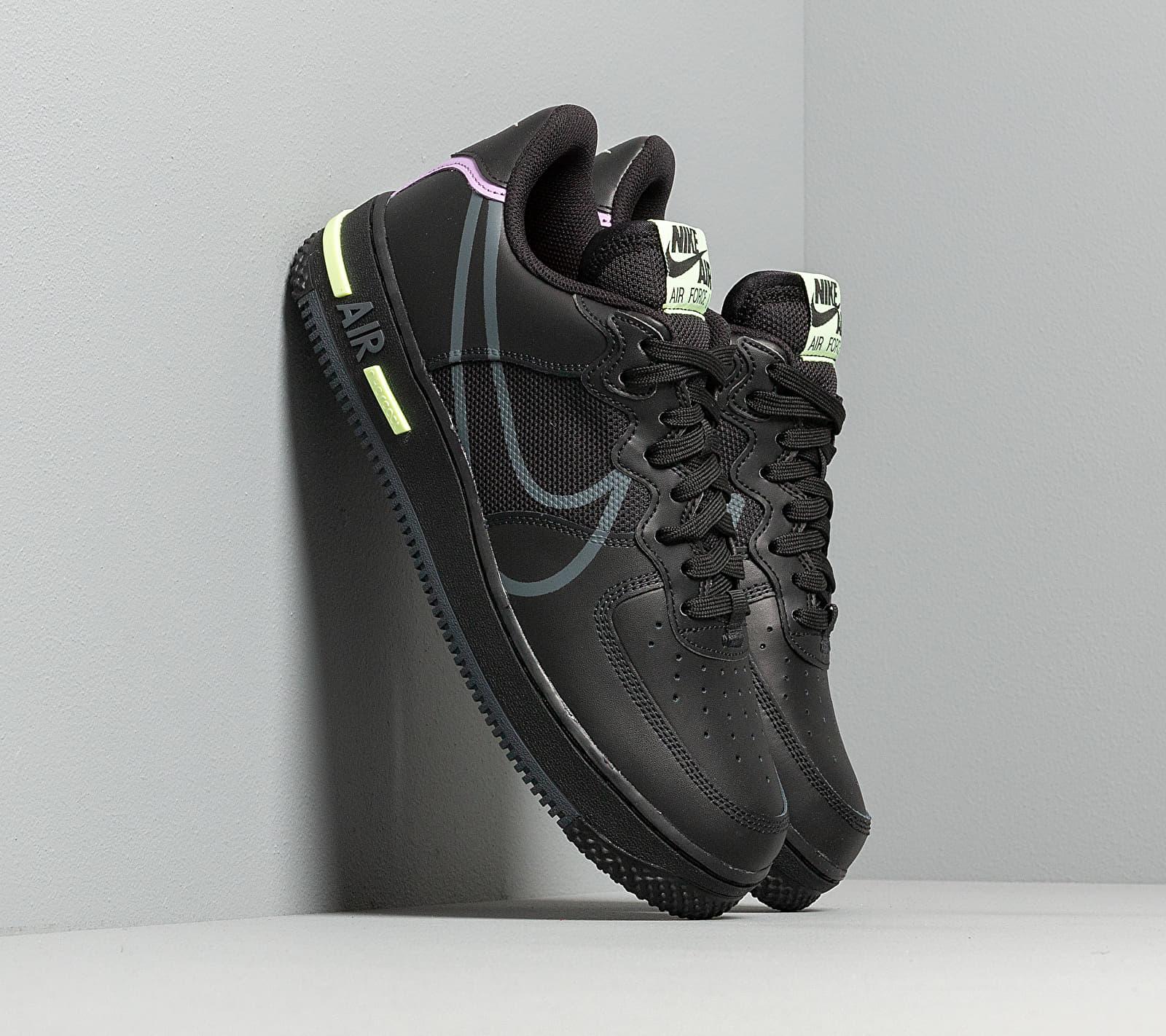 Nike Air Force 1 React Black/ Anthracite-Violet Star-Barely Volt CD4366-001