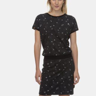 Ragwear černé šaty Odyl s květinami