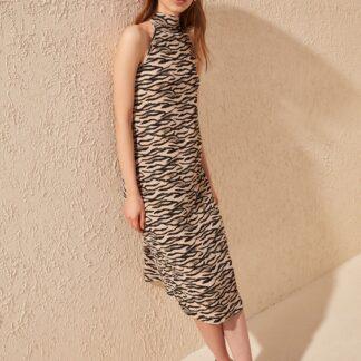 Trendyol béžové letní šaty s leopardími vzory