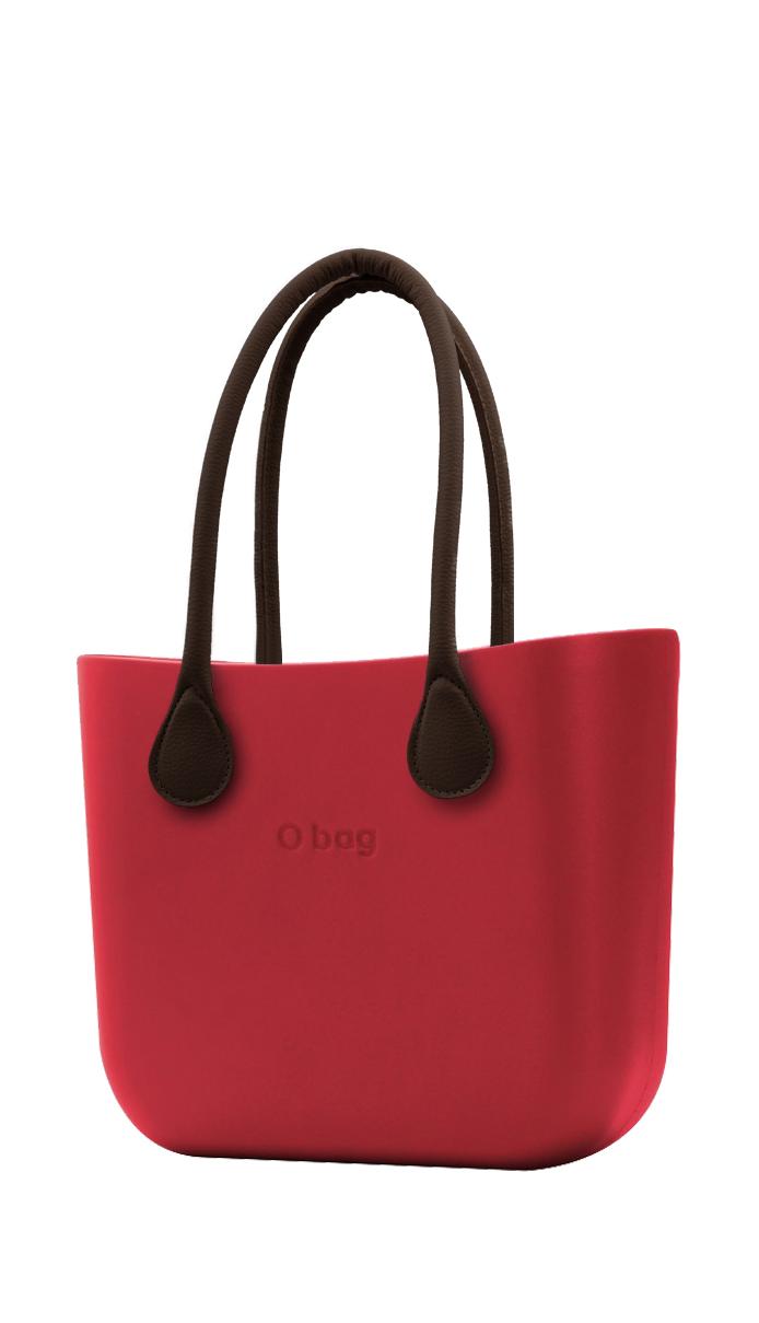 O bag kabelka Rosso s hnědými dlouhými koženkovými držadly