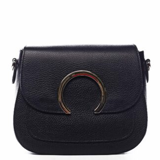 Dámská kožená crossbody kabelka černá - ItalY Pretty černá