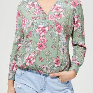Moodo zelená košile s květinami
