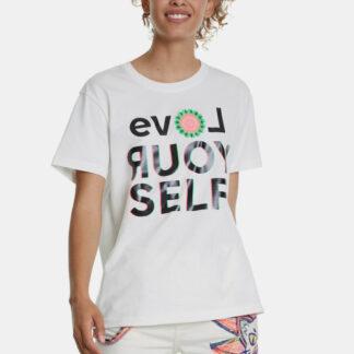 Desigual bílé tričko Love Your Self