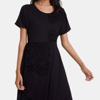 Desigual černé šaty Thalia se sametovými detaily