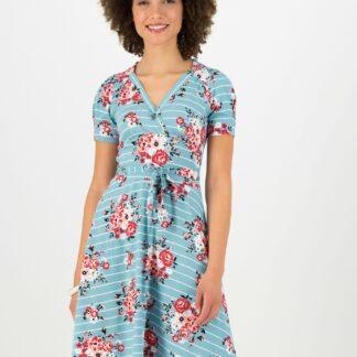 Blutsgeschwister modré šaty Streifen Blumen