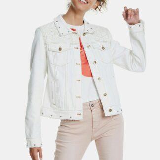 Desigual bílá denimová bunda Milli s výšivkami