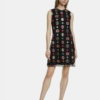 Desigual černé šaty Tresor s barevnými motivy