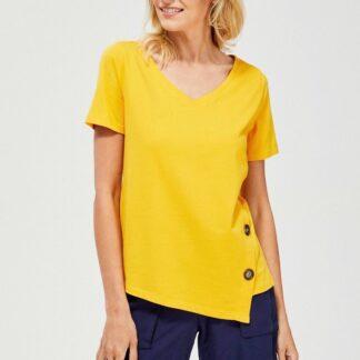 Moodo asymetrické žluté tričko s knoflíky