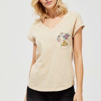 Moodo béžové tričko s kapsou potištěnou květy