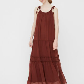 Vero Moda hnědé maxi šaty Penelope