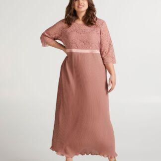 Zizzi pudrové maxi šaty s krajkou