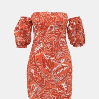 Alcott oranžové šaty s odhalenými rameny