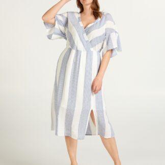 Zizzi bílo-modré pruhované šaty