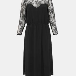 Zizzi černé maxi šaty s krajkovanými rukávy