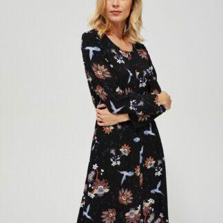 Moodo černé propínací šaty s barevnými motivy