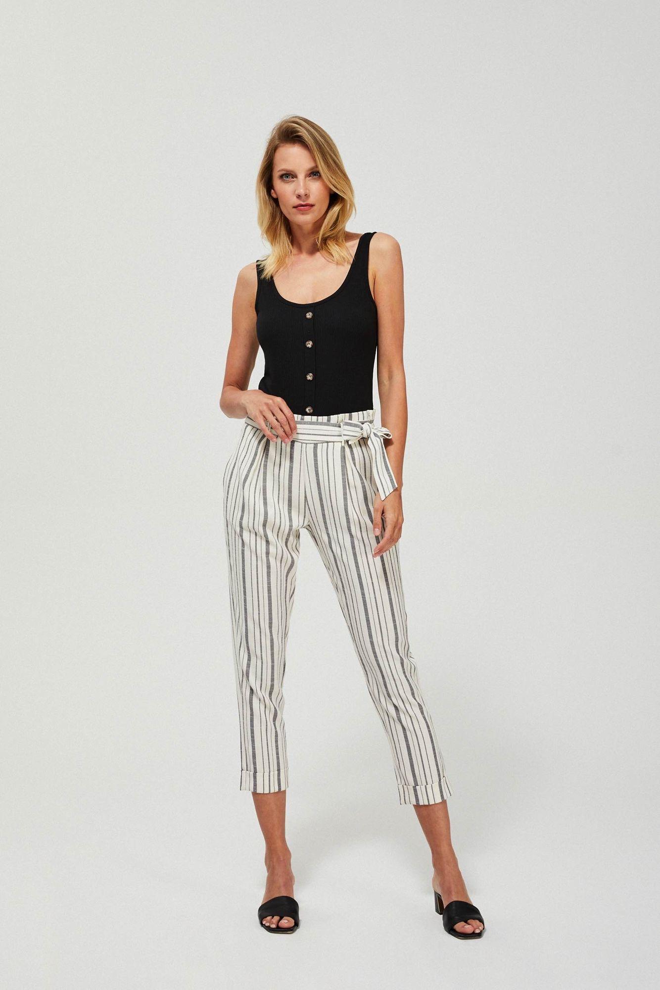 Moodo smetanové kalhoty s šedými pruhy
