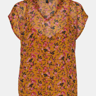 Vero Moda hořčicové top s květinami