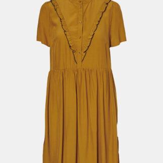 Vero Moda hořčicové šaty se stojáčkem