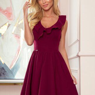 Numoco vínové šaty s volánem