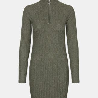 Noisy May khaki svetrové šaty