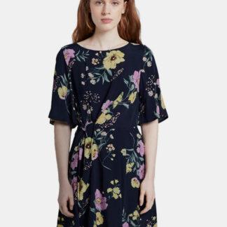 Tom Tailor Denim tmavě modré květované šaty