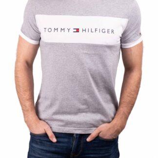 Tommy Hilfiger šedé pánské tričko CN SS Tee Logo Flag