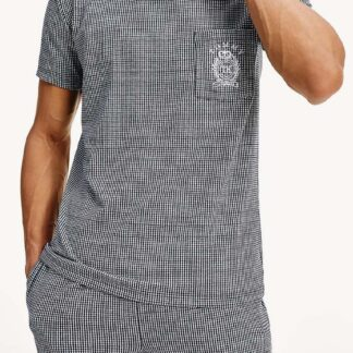 Tommy Hilfiger pánské tričko CN SEE Tee Gingham Navy Blazer
