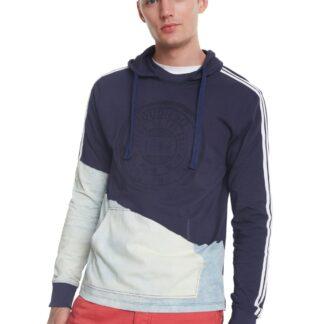 Desigual modré pánské tričko TS Kwan s kapucí