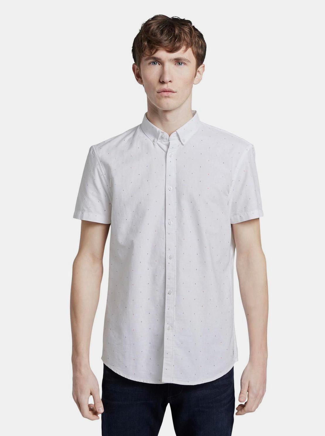 Tom Tailor Denim bílá pánská košile se vzory