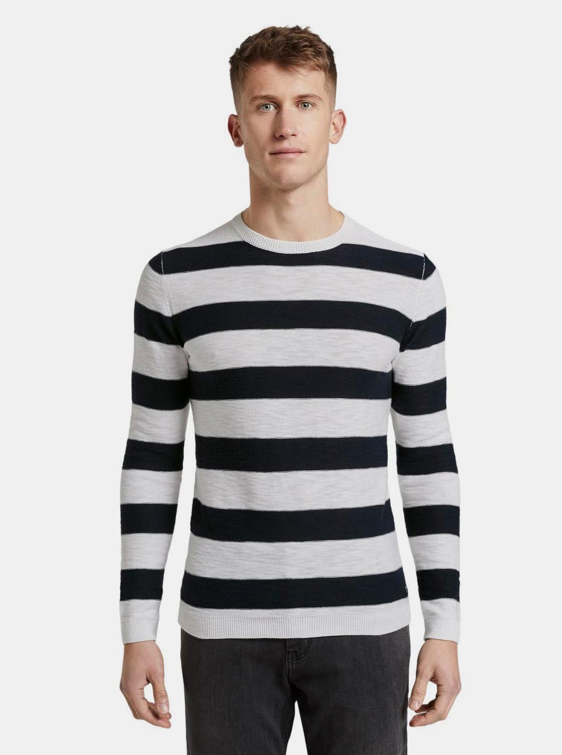 Tom Tailor Denim černo-bílý pánský svetr