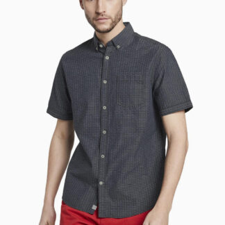 Tom Tailor tmavě šedé pánská košile s drobným vzorem