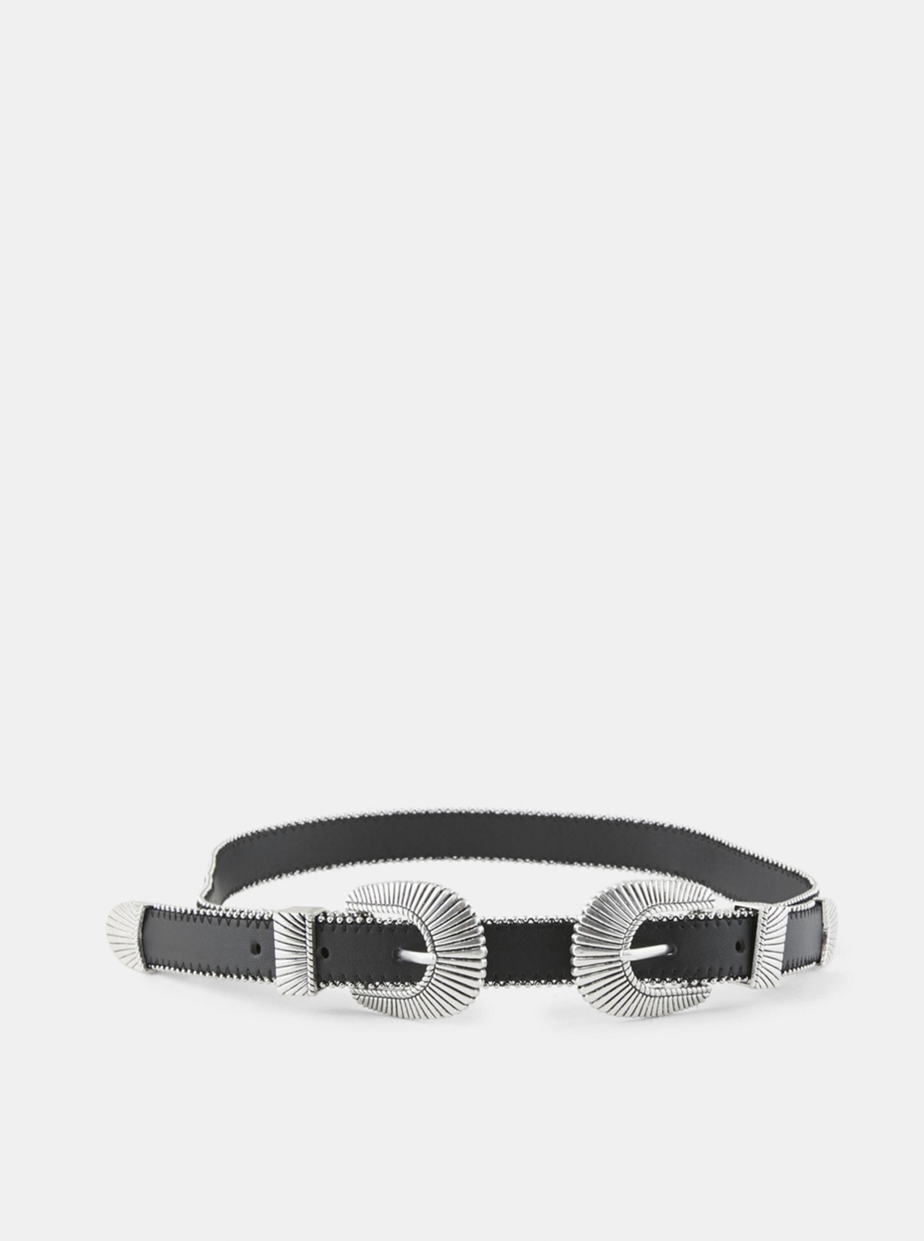 Pieces černý pásek Arisa se stříbrnými aplikacemi