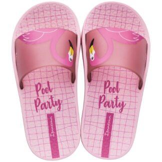 Ipanema růžové dívčí pantofle Urban Slide Kids Light Pink/Pink s plameňákem