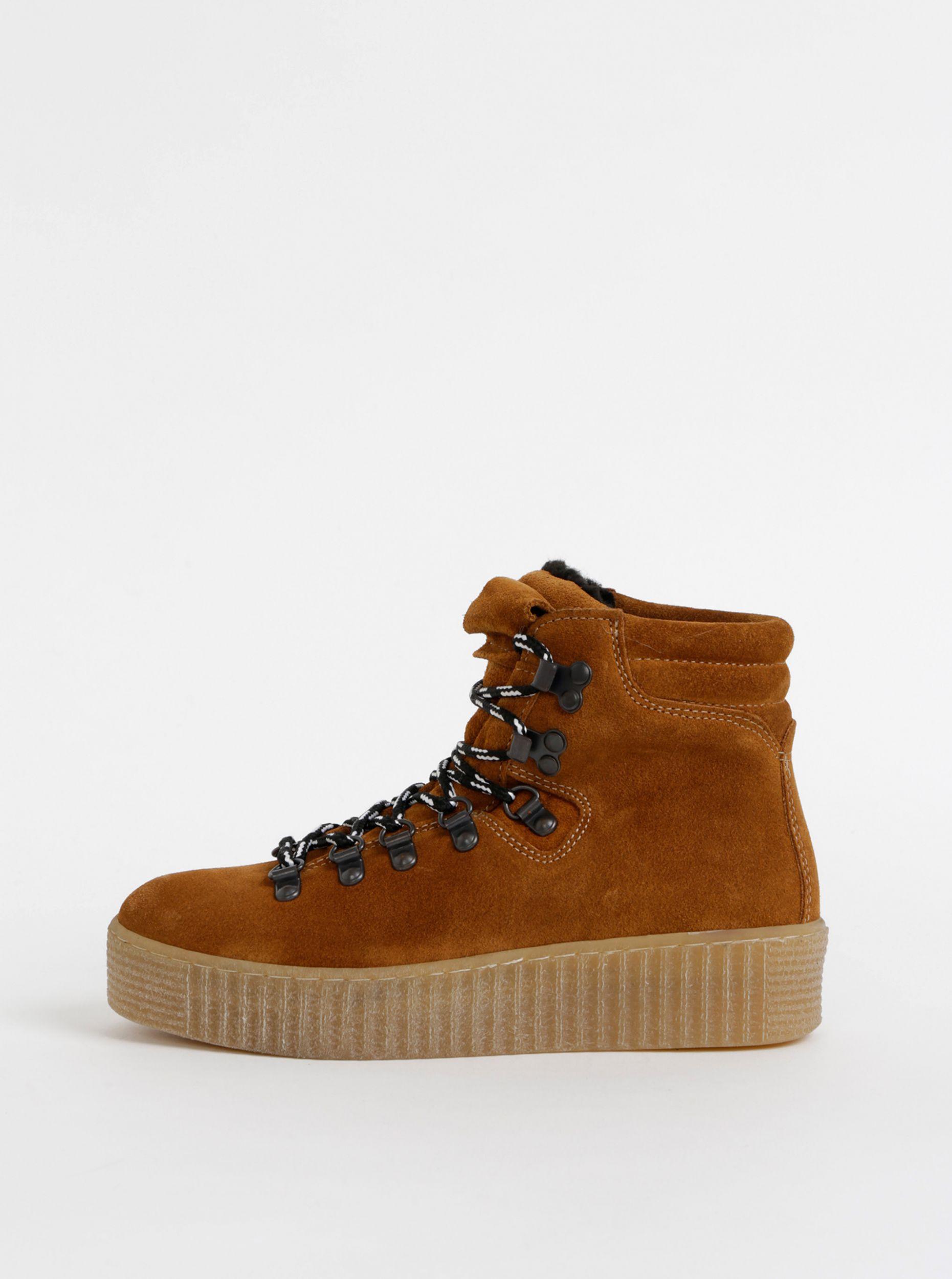 Pieces hnědé kotníkové boty na platformě Halima