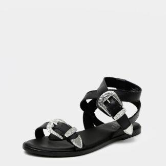 Pieces černé kožené sandály Adine