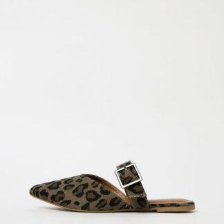 Pieces khaki pantofle Nua s leopardím vzorem