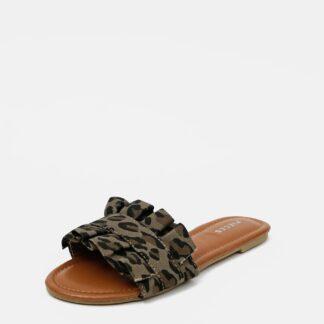 Pieces khaki semišové pantofle Nola
