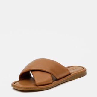 Pieces hnědé kožené pantofle Audrey