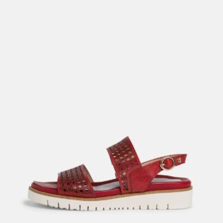 Tamaris červené kožené sandály