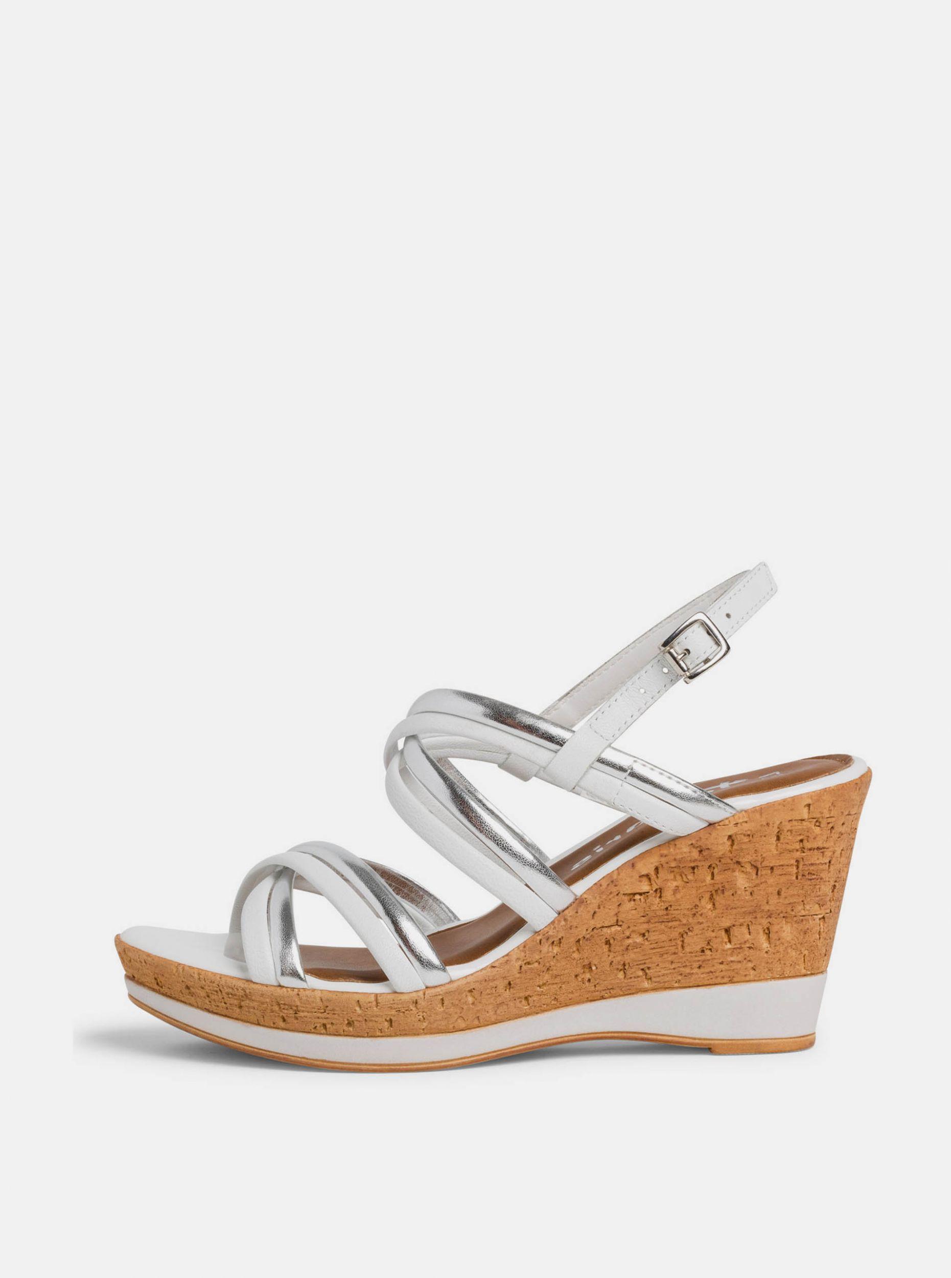 Tamaris bílé kožené boty na klínku