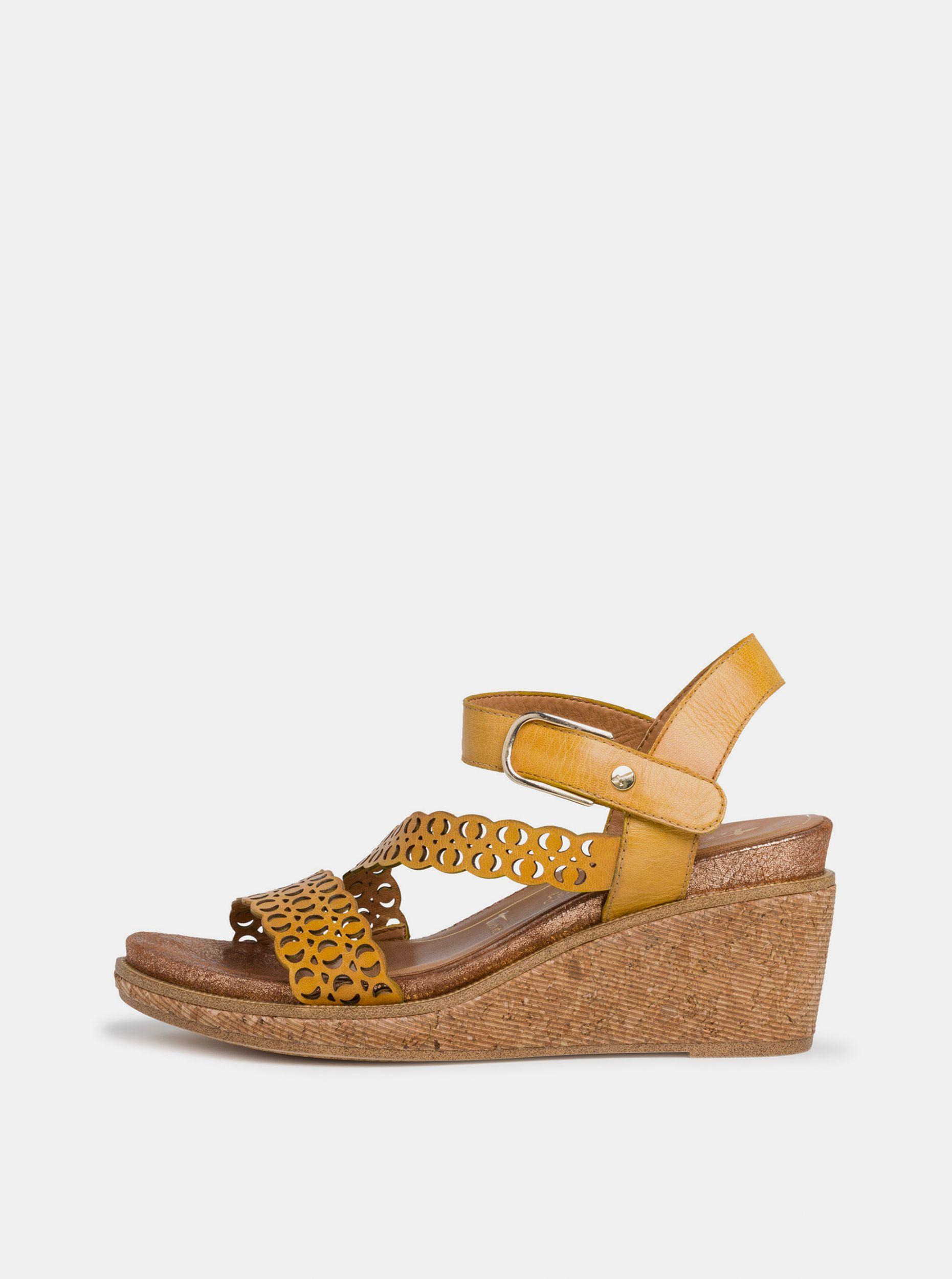 Tamaris žluté kožené boty na klínku
