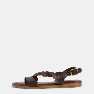 Tamaris hnědé kožené sandály