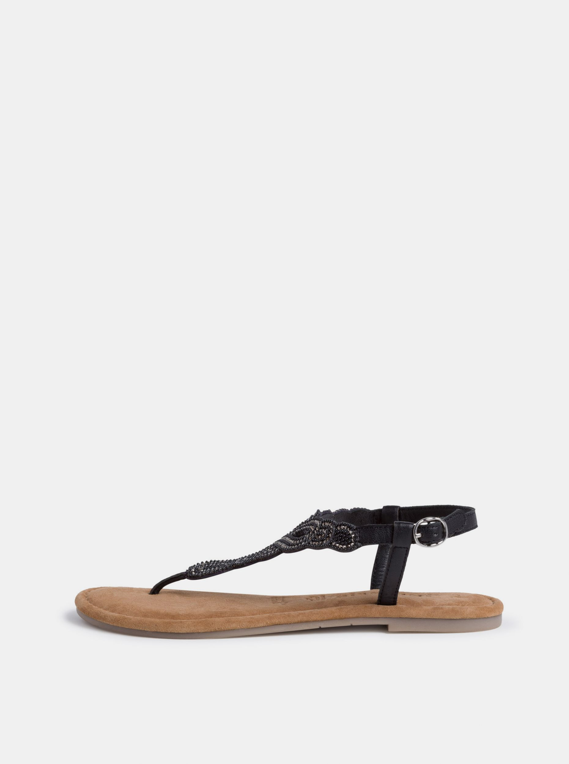 Tamaris černé kožené sandály