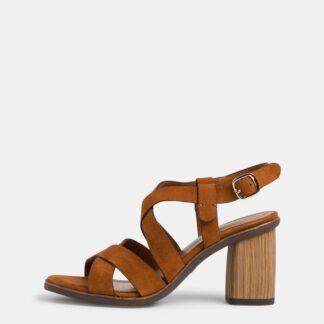 Tamaris hnědé semišové sandály na podpatku