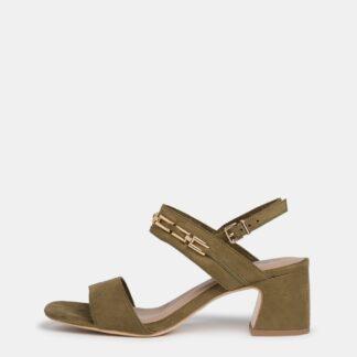 Tamaris khaki semišové boty na podpatku